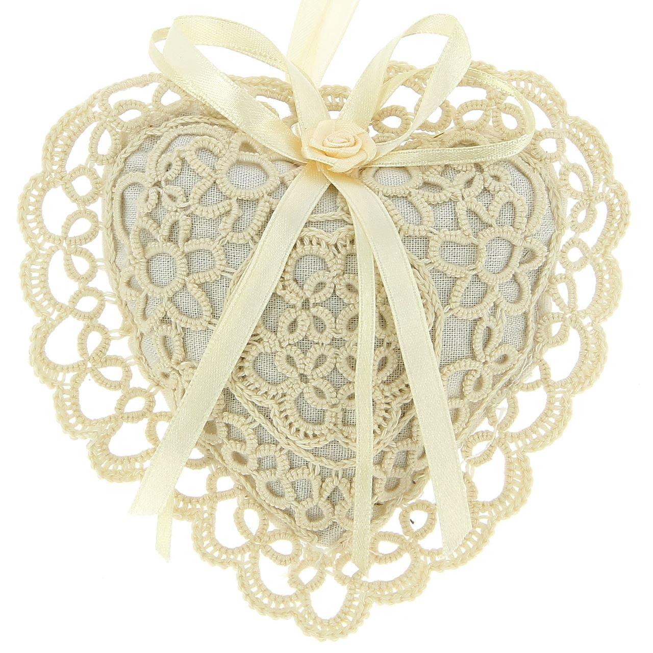 Coeur écru en dentelle parfumé au lavandin
